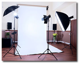 lighting equipment and backdrop on location
